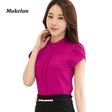 Fashion Women Office Formal Blouse Shirts Office Womens Summer Slim Ruffles Collar Blouses Elegant Ladies Red Tops Bastic Blusas