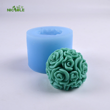 3D Rose Flower Ball Silicone Candle Mold DIY Handmade Soap Chocolate Candy Mould