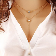 Female Girl Fresh womens clothing accessories lighting 2 layers diamante gold pendant short summer chain necklace my orders(China)