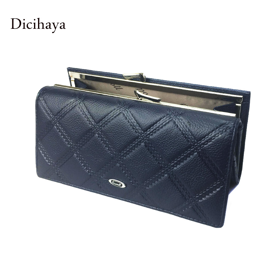 2017 New cowhide women wallet brand Long design women wallets leather lattice high quality female purse clutch bag 4 colors<br><br>Aliexpress
