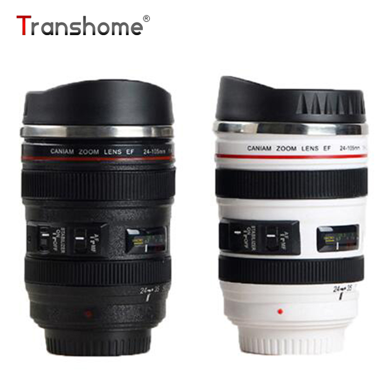 Transhome Camera Lens Mug 400ml Creative Canon Portable Stainless Steel Tumbler Travel Vacuum Flask Milk Coffee Mug Novelty Gift(China (Mainland))
