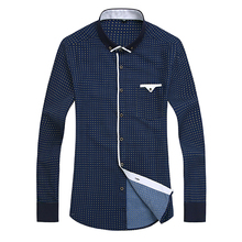 Men Dress Shirt 2017 Spring New Arrival Button Down Collar High Quality Long Sleeve Slim Fit Mens Business Shirts S-4XL YN026