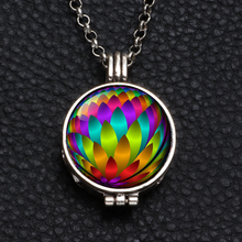 Perfume Aroma Pendant Necklace With Foam 25mm Glass Charms Link Chain 62cm Length Multi Pattern For Man Women & Girl DZ1747