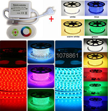 DHL Free 220V SMD 5050 red led strip light 110V 120V 230V led strip rgb waterproof 5050 240V + RF remote IR Touching controller