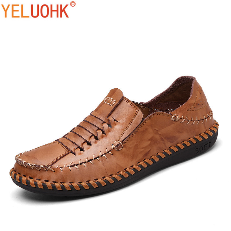 Natural Leather Moccasins Men Shoes Casual Breathable Men Loafers Handmade Slip On High Quality<br>