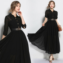 Make spot standing collar shirt sexy temperament cultivate one's morality in Europe posed chiffon long dress