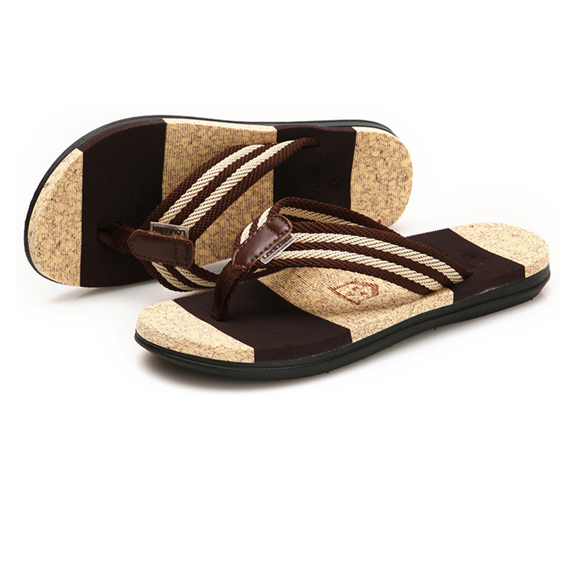 Flip Flops Men Striped Summer Casual Flat Sandals Outside Beach Rubber Slippers Clothing, Shoes & Accessories