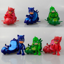 3pcs/set Pj Masks Characters Catboy Owlette Gekko Slide Car Action Figure Hands Feet Can be Moved Kids Toys 3.5""