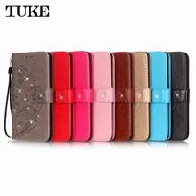 TUKE Bling Rhinestone Embossing Wallet Phone Covers For Apple ipod Touch 5 & Touch 6 Brand Book Flip Movie Stand Cases Silicon