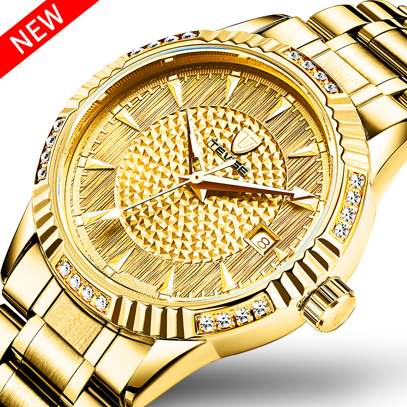 New strap wrist watches for men diamond Automatic Self-Wind Mechanical Wristwatches with waterproof Calendar Luminous T629A<br>