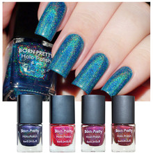 BORN PRETTY 1 Bottle Holographic Holo Glitter Nail Polish Varnish Hologram Effect 15 Colors Available(China)