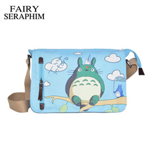 FAIRY SERAPHIM Anime My Neighbor Totoro Messenger Canvas Bag Shoulder Bag Cute Printing Blue Totoro Bag Teenagers Schoolbag(China)