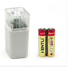 2 pcs 1.5V AA 2800mWh rechargeable lithium battery + 4 channels USB charger with led light(China)