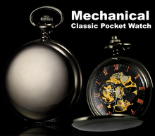Classic Watches Black Stainless Steel Smooth Case Full Hunter Mens Hand Winding Mechanical Pocket Watch Steampunk Women Gifts(China)