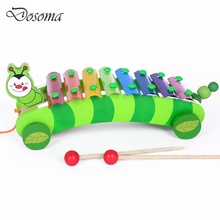 Wooden 8 Music Scale Knock Piano Music Instrument Xylophone Toys Dog Caterpillar Trailer Knock Piano Children Educational Toys