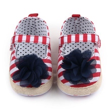 Beautiful And Fashional Striped And Flower Design Fancy Baby Toddler Newborn Dress Shoes For Girls 0-15 Months(China)
