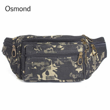 Osmond Canvas Waist Packs Man Bag Pouch Money Belt Fashion Waist Bag Men Leather Durable Camouflage Portable Color Cool