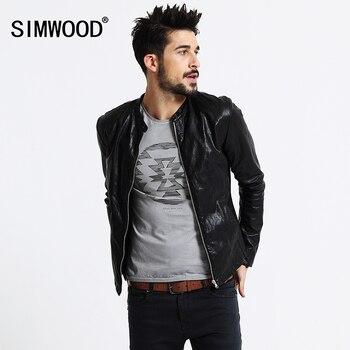 SIMWOOD Marque Moto En Cuir Vestes Hommes Automne Hiver Vêtements Hommes En Cuir Vestes Homme Casual Manteaux Livraison Gratuite PY2501