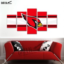Printed Modern Canvas HD 5 Panel Football team logo Painting Frame Modular Pictures Home Decor Sports Room Wall Art