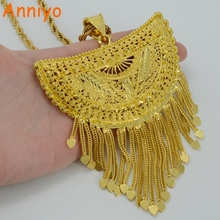 Anniyo Very Big Africa Pendant Necklaces for Women Gold Color Ethiopian/Nigeria/Congo/Sudan/Ghana/Arab Jewelry #054506