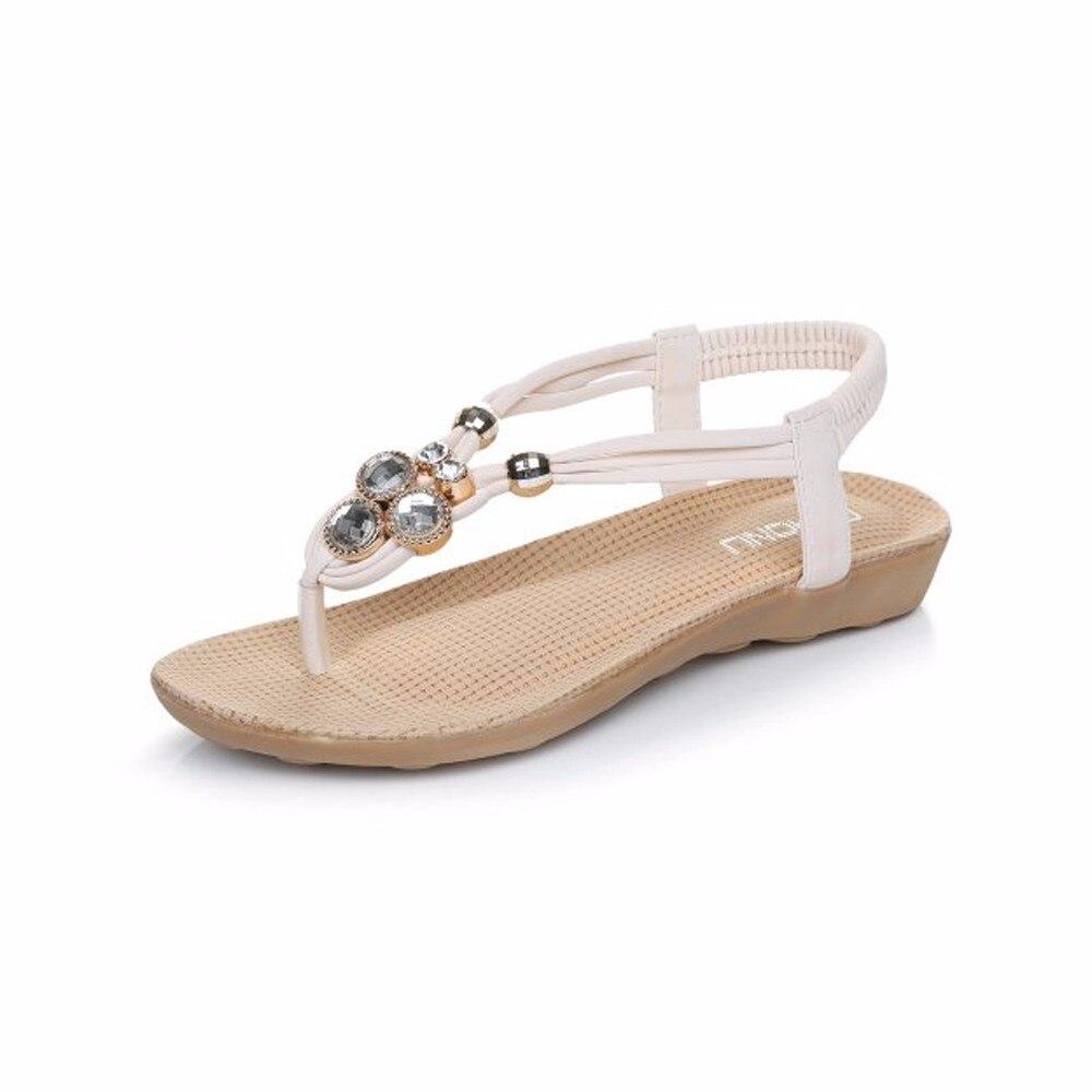 Women  high quality Slipper Summer Beaded Bohemian Fashion Sandals Beach Shoes Flat Shoes<br><br>Aliexpress