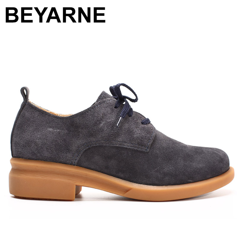 BEYARNE Shoes Woman Flats Genuine Leather Ladies Flat Shoes Women Casual shoes Round toe Lace up Female Footwear <br>