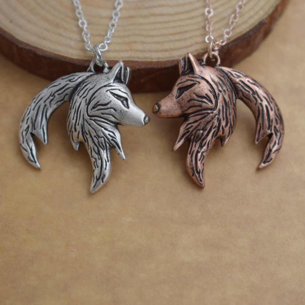 Yin Yang Wolf Necklace For Couples (2 necklaces) silver and copper