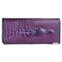 Hot Fashion Women Wallet Female 2017 Genuine Leather 3D Embossing Alligator Ladies Crocodile Long Clutch Wallets (Purple)(China)