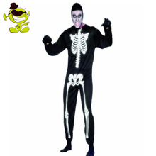 Adults Men Halloween Skeleton Costumes  black Skeleton Jumpsuit Costumes Halloween Role Play  Skeleton  Costumes Cosplay Party