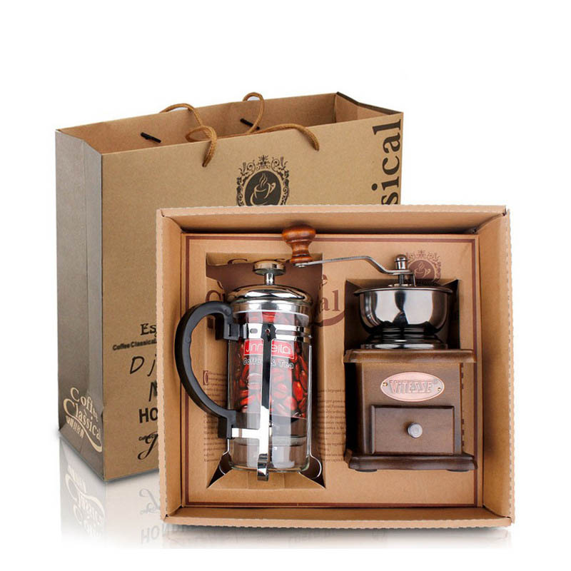 Manual coffee grinder + coffee pressure pot Manual coffee Bean grinding machine Gift Box 1 set<br>