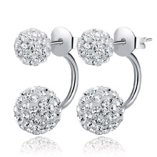2016 New Hot Fashion Jewelry Shamballa Earrings 925 Silver Crystal Disco Ball Shamballa Summer Style Stud Earrings for Women