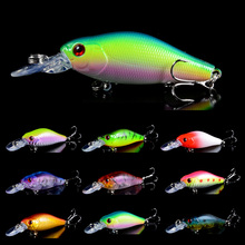 1PCS Minnow Fishing Lure 7CM 8.1G pesca hooks Fish Wobbler Tackle Crankbait Artificial Hard Bait Swimbait 10 Color