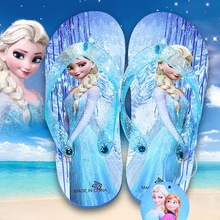 2016 summer Children girl's Elsa Sandals Flip flops Big girl cartoon Flip flops Hello kitty Spider man slippers Kids Beach shoes