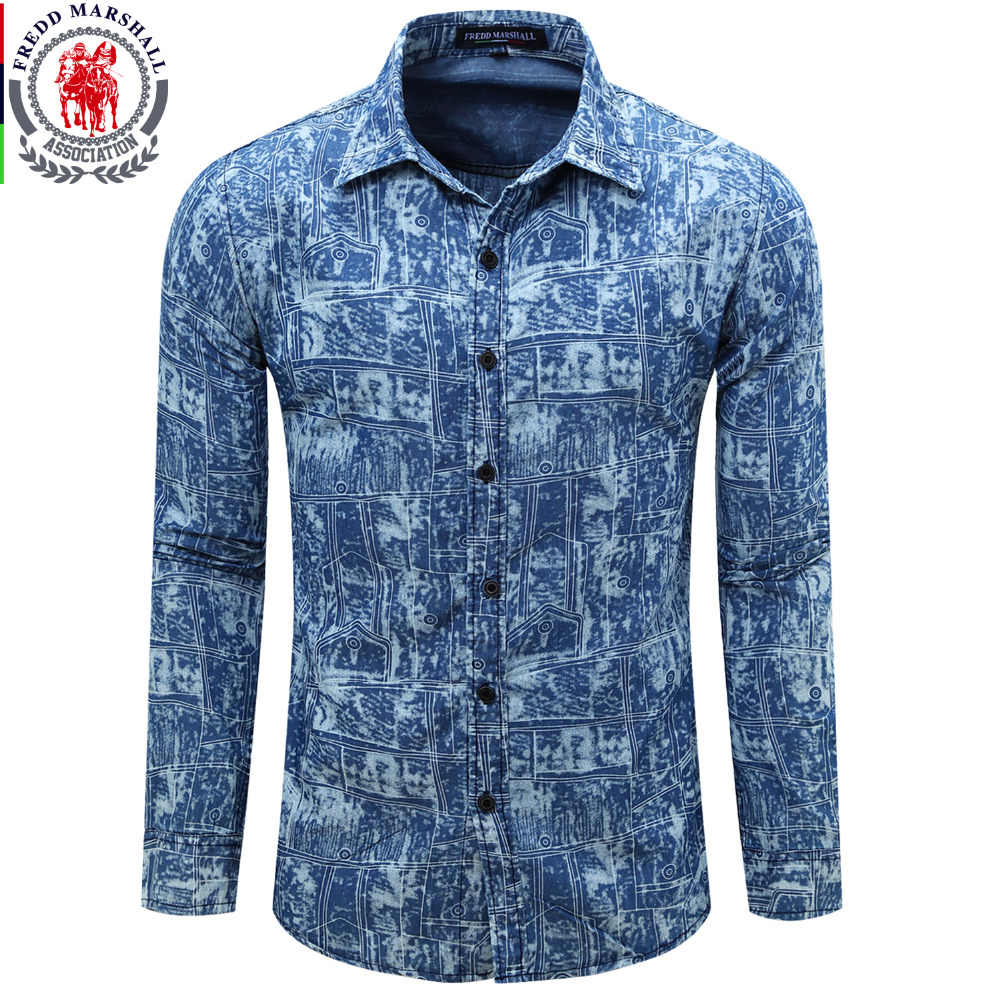 acd659ac07 Europe Size Men s Denim Shirt New Dress Shirts Male Shirt Long Sleeve Mens  Jean Shirt Classic