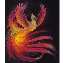 "NEW 5D DIY Diamond Embroidered Acupuncture Cross Stitch ""flaming Phenix"" Diamond Art Wall Photo Christmas Decorative Gift"
