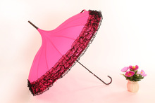 New Elegant Semi-automatic Lace Golf Umbrella Fancy sunny and rainy Pagoda Umbrellas 12 colors available(China)