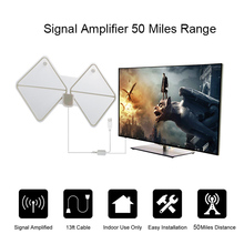 Digital TV Antenna Amplifier 50 Miles RangeUltra-thin Indoor Digital HDTV TV Antenna with Detachable Amplifier Signal Booster(China)