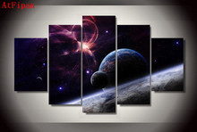 AtFipan Home Decor Modular Wall Painting 5Pcs Stars Galaxies Abstract Art Poster Oil Painting On Canvas Pictures For Living Room