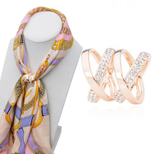 2016 New arrival Fashion Connected cross full crystal scarf buckle beautiful brooch woman silk buckle fashion jewelry(China)