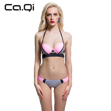 sexy romantic bikini 2017 maillot de bain Swimwear Women Push Up Swimsuit low Waist Bathing Suits halter bandage bikinis 037