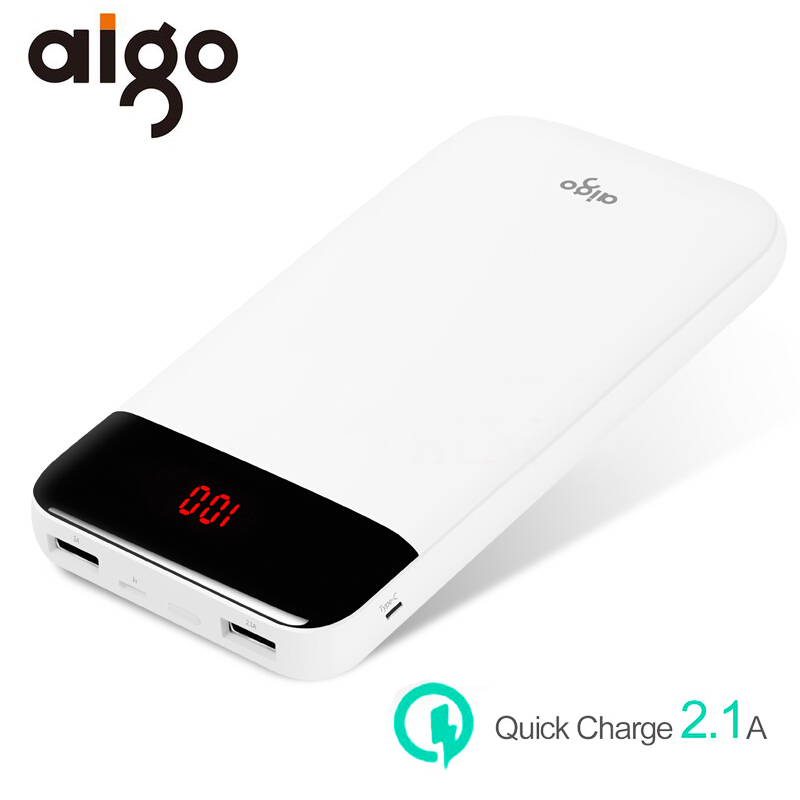 Aigo E20000 20000mAh Universal Power Bank Apple Interface Type-C Dual USB Port Charger Large Capacity Mobile Battery