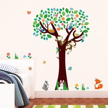 Decorative kids rooms baby nursery bedroom decor monkeys fox birds animals tree wall stickers home decal mural wallpaper poster(China)