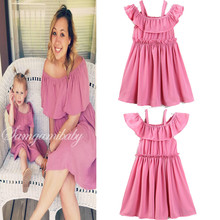 INS mother and daughter dresses croal summer children's outfit Family matching clothes Baby girl outfits matching Girls clothes