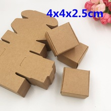 30pcs 4*4*2.5cm Kraft Craft Paper Jewelry Pack Boxes Small Gift Box For Biscuits Handmade Soap Wedding Party box