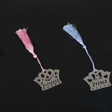 2017 new Real Hot Sale Imperial Crown Bookmarks Metal With Tassels Stationery For Books Kids Gifts Wedding Favors(China)