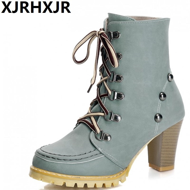 Korea Style Women Ankle Boots Fashion Cross Straps Thick High Heels Autumn Winter Casual Shoes Ladies Martin Boots Rivets<br>