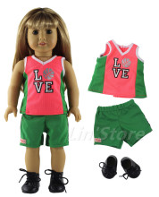 Basketball clothing Sportswear Doll Clothes for 18'' American Girl Doll Handmade Clothes Top+shorts+one pairs shoes(China)
