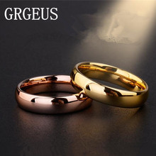 6mm Titanium Band Wedding Ring Solid fashion Rose gold ring glossy 316L stainless steel ring for women men Valentine's Day(China)