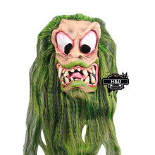 Terror Halloween Grimace Mask Green Long Hair Latex Ghost Masquerade Cosplay for Adult Halloween Props Costume Fancy Dress Party