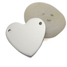 10PCS/Lot High Polished Silver Tone Stainless Steel Blank ID Heart  Plate Tag Plaque For Custom Make Bracelet